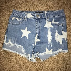 Jean shorts with star accents
